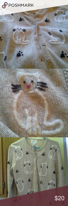 Sweater ADORABLE Cat sweater. Can't tell you how many people stopped to tell me how cute it was. Sweater is warm and thick and the cat design is super soft and furry. Hand embroidered.  Gently used and loved.? Christopher & Banks Sweaters Cardigans