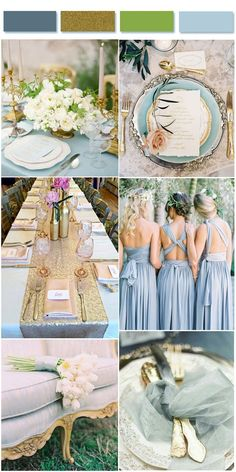 Chic Dusty Blue,gold glitter and Greenery Weddign Inspirations