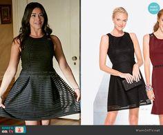 Jane's black sheer striped dress on Jane the Virgin.  Outfit Details: http://wornontv.net/54327/ #JanetheVirgin