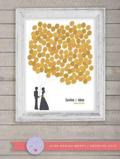 wedding guest book alternative -  gold balloons (printable). $48.00, via Etsy.