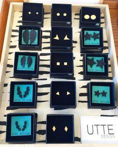 Super fede øreringe i messing og krympeplast fra UTTE Design.