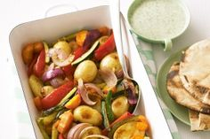 Roasted vegetables with coriander yoghurt