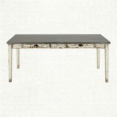 """Adeline 74"""" Rectangle Steel Top Dining Table In Picket White Spruce 