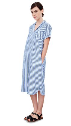Margaret Howell - Look 8 (Blue/white candy stripe tunic shift dress) Spring/Summer collection 2012