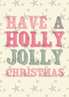 """Kerstkaart pastel met de quote """"have a holly jolly christmas"""" van Studio Inktvis. Met onze pastelkleurige kerstkaart valt u pas echt op."""