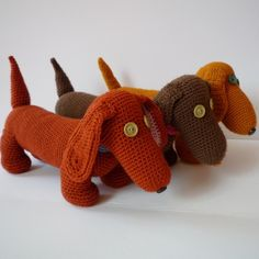 Items similar to Dachshund puppy - crochet doggie in the colour of your choice - MADE TO ORDER on Etsy Crochet Crafts, Crochet Dolls, Yarn Crafts, Crochet Projects, Knit Crochet, Diy Crafts, Dachshund Gifts, Dachshund Love, Dachshund Puppies