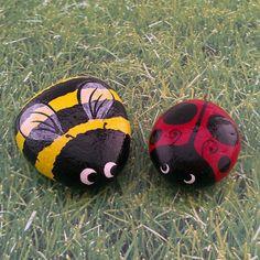 Ladybug bumble bee set of two hand painted garden stones decorative rocks
