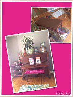 $10 thrift store find= retro hot pink velvet piano bench.