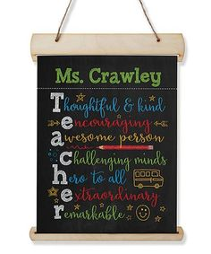 Show your appreciation for a very special teacher with this personalized wall sign. Shipping note: This item will be personalized just for you. Greeting Cards For Teachers, Teacher Cards, Planet Love, Wood Canvas, Jute Twine, Personalized Signs, Wall Signs
