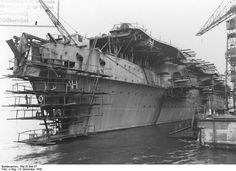 The German Navy started work on two aircraft carriers but only the Graf Zeppelin was launched, in December She was never completed, as the constant argument within the Nazi regime as to how best to allocate naval construction resources Naval History, Military History, Zeppelin, Luftwaffe, Navy Aircraft, American Civil War, American History, Native American, Armada