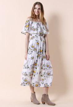 Daisy Flair Frilling Off-shoulder Maxi Dress - Retro, Indie and Unique Fashion