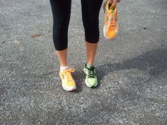 Jen Carfagno and Stephanie Abrams go running this afternoon with different colored shoes on!