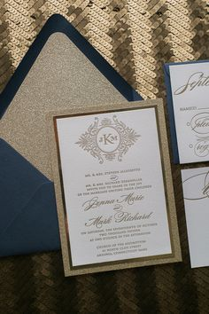 Stunning and Elegant! Fabulous Navy and Gold Glitter Letterpress Wedding Invitation. ABIGAIL Fancy Glitter Collection by Just Invite Me