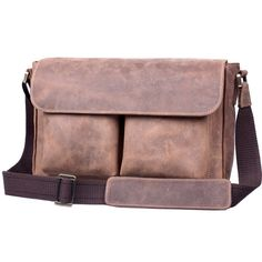 Handmade Vintage Tan Crazy Horse Leather Messenger Bag