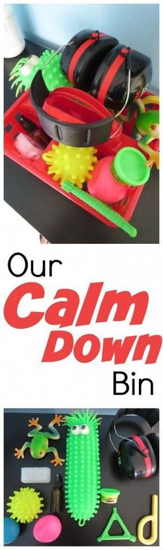 Calm Down Bin for sensory meltdowns and tantrums. Great list of tools for kids with sensory processing disorder to help them regain control and get the input they need. Repinned by SOS Inc. Resources pinterest.com/sostherapy/.
