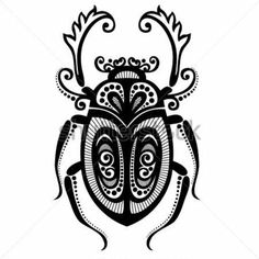 Illustration about Vector Beautiful Beetle, Exotic Insect. Illustration of ornate, silhouette, style - 34188496 Beetle Insect, Insect Art, Weird Tattoos, Body Art Tattoos, Tatoos, Scarab Beetle Tattoo, Bug Tattoo, Quilling Patterns, Bugs And Insects