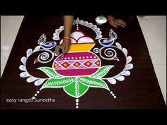Draw this Sankranthi 2020 Bhogi Kundalu Muggulu - Pongal kolam designs by easy Suneetha Rangoli Designs Peacock, Best Rangoli Design, Colorful Rangoli Designs, Rangoli Kolam Designs, Diwali Deepavali, Rangoli Colours, Padi Kolam, Special Rangoli, Diwali Festival