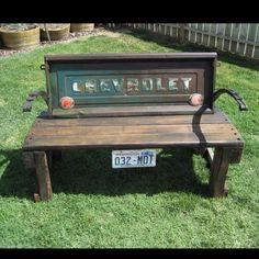 Tailgate Bench - so cool! Babe maybe we could find an old GMC tailgate and get it painted the green, be a whole lot cheaper than the entire truck and cool in the backyard! Do It Yourself Furniture, Do It Yourself Home, Outdoor Projects, Diy Projects, Outdoor Decor, Outdoor Retreat, Repurposed Furniture, Diy Furniture, Handmade Furniture