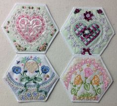 Four more fantastic hexagon blocks from creator Kay Lea.