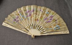 ANTIQUE DECORATED FLOWERS GENUINE BOVINE BONE HAND FAN FOR REPAIR