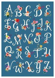 Alphabet Poster Print Watercolor Typography Nursery