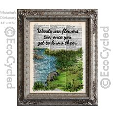 New to EcoCycled on Etsy: Eeyore Quote Weeds are Flowers Too on Vintage Upcycled Dictionary Art Print Book Art Print Winnie the Pooh (10.00 USD)