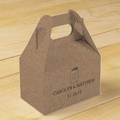 Rustic Kraft Paper Mason Jar Heart Wedding Favor Box
