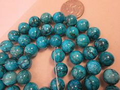 Close Out Beads Jasper Blue Round 12mm 34 Pieces by FLcowgirls, $2.55, coordinates with the cross & rondelle beads