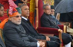 Prime Minister Narendra Modi, President Pranab Mukherjee with the chief guest and US President Barack Obama during Republic Day parade.
