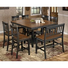 Owingsville Square Dining Room Counter Extension Table with Storage by Signature Design by Ashley - Furniture & Bedding - Pub Table Madison, WI Square Kitchen Tables, Square Tables, Round Kitchen, Round Dining, Patio Bar Set, Pub Table Sets, Pub Tables, Coffee Tables, Dining Room Table
