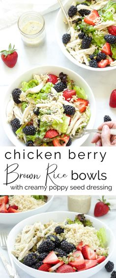 #sponsored This Chicken Berry and Brown Rice Bowl is light and healthy but a super-satisfying summer dinner (or lunch) thanks to U.S.-grown rice. Plus, it's gut-healthy and blood-sugar friendly. #ThinkRice #RiceRecipe #lowglycemic #wholegrains #powerbowls #saladrecipes #easydinner #summerdinner #healthymeals #30minutemeals #bowlmeals #buddahbowls #chickenrecipes #rotisseriechickenrecipes #summerdinner #prebioticfoods #ricerecipes @Think_Rice