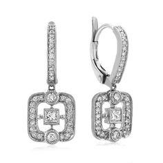 Leslie Greene 18 k white gold square aria drop earrings $2630