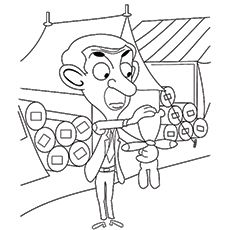 Mr Bean Coloring Pages Mr Bean Attending A Fair Coloring