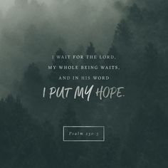I wait for the Lord , my whole being waits, and in his word I put my hope. Psalm 130:5 NIV https://psalm.bible/psalm-130-5