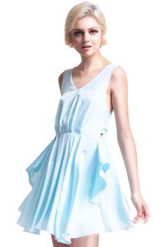 Cut-out Back Pleated Lake-Blue Dress #Romwe