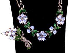 RARE Crown Trifari Philippe Moonstone Rhinestone Enamel Flower Fur Clip Necklace | eBay