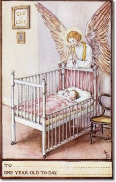 Cicely Mary Barker - Religious Works - Guardian Angel Birthday Cards for SPCK 1923 - One Year Card Painting