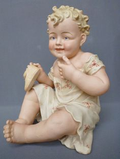 Antique German Bisque Piano Baby Figure Figurine Doll Victorian Conta Boehme