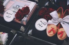 classy black & red wedding gift trays.