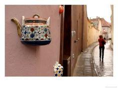 Teapot Decoration on Wall of Local Tea Shop - Vilnius Poster :: PicassoMio