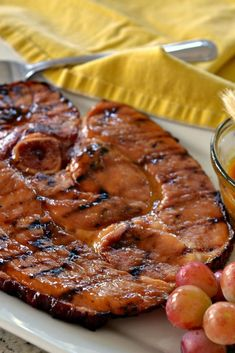 This ham steak with honey mustard glaze is one of my picky sons favorite recipes. this delectable main course can be on the table in less than twenty Cooking Ham Steak, Baked Ham Steak, Grilled Ham Steaks, Ham Steak Recipes, Grilled Fish Recipes, Cooking On The Grill, Grilled Ham Glaze Recipe, Ham On The Grill, Grilled Food