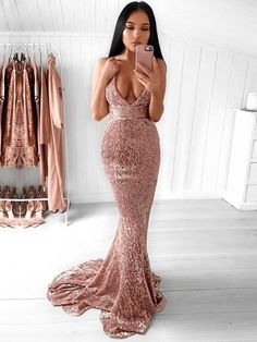Trumpet/Mermaid V-neck Sequined Sweep Train Prom Dresses #Favs020106203 Glitter Prom Dresses, Prom Dresses 2018, Backless Prom Dresses, Cheap Prom Dresses, Prom Party Dresses, Dress Prom, Graduation Dresses, Bridesmaid Dresses, Prom Gowns