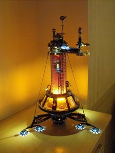Steampunk Lamp.... This seriously looks like it could be the inside of the TARDIS