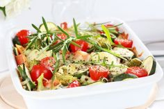 This warm roasted vegetable salad is perfect for dinner on cooler nights. Easy Vegetable Recipes, Vegetable Dishes, Vegetarian Recipes, Healthy Recipes, Vegetable Bake, Baked Vegetables, Healthy Vegetables, Veggies, Fabulous Foods