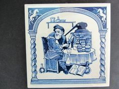 1984 Delft Holland Handmade Pharmacy Tile Burroughs Wellcome Co | eBay