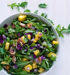 Gluten Free Tropical Summer Salad with Pineapple, Bacon & Arugula