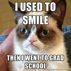 I used to smile Then i went to grad school - Grumpy Cat | Meme ...