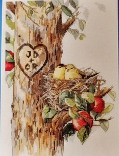 Birds Heart Tree  Cross Stitch Kit New by SewStitchQuilt on Etsy, $9.00 Free Shipping