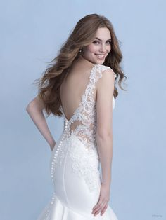 This Ariel-inspired gown with its modern mermaid silhouette, luxurious stretch Mikado and understated shimmer emulates the ebb and flow of the ocean's tide. The fun and flirty beadwork and cutouts give a splash of the unexpected. Sheath Wedding Gown, Wedding Dress Sizes, Designer Wedding Dresses, Wedding Gowns, Disney Inspired Wedding Dresses, Ariel Dress, Bridal And Formal, Wedding Dress Shopping, Wedding Styles