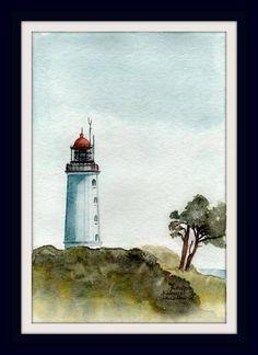 Aquarell - Unikat - Leuchtturm Hiddensee - 16x23 cm - ohne Rahmen und Passepartout - 15% Rabattaktion von ArtRuthTrinczek auf Etsy
